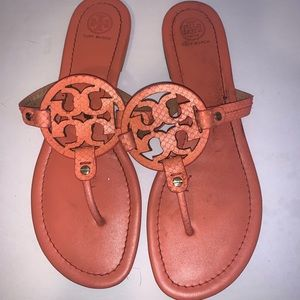 Tory Burch Miller Leather Thong Sandals Orange 11M